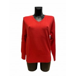 Pull Coton Viscose Rouge