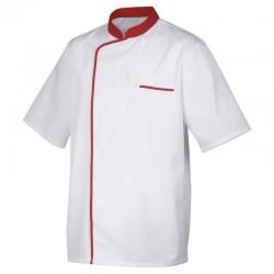 Veste de cuisine Blanc avec liseré Rouge