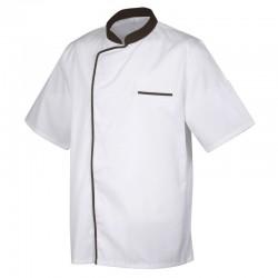 Veste de cuisine Blanc avec liseré Marron